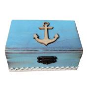 OUNONA Nautical Anchor Ring Box Wooden Rectangle Engagement Wedding Ring Bearer Box Holder