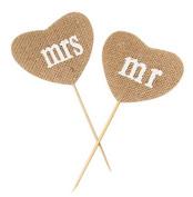 Kanggest Mr Mrs Love Heart Shape Hesssian Burlap Vintage Wedding Wedding Anniversary Cake Flower Topper Home Party Decorations