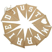Kanggest 2.8M/9 Feet Jute Linen Bunting Banner Hessian Fabric Wedding Decorations Triangle Flags for Vintage Wedding