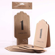 Kraft with Embossed Gold Table numbers 1 -12