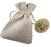 10 Sachets of Jute Mr & Mrs 10 x 13 cms for your wedding details