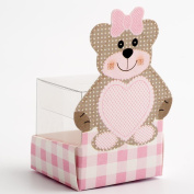 Favour Boxes Teddy Bear Pink with Clear cube insert 45 x 45 x 45mm Pack of 10 for Baby Shower, christenings, baby announcement gifts