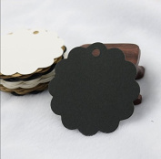 Kraft Paper Tag, 100PCS Round Black Christmas Birthday Party Gift Price Card Kraft Paper Tag Wedding Label Wedding Favour Mark Blank Tagboard with 20m String