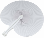 Paper Fan, Lance Home® 20pcs Plastic Folding Hand Fan for Party Heart Paper Painting Gift DIY Decoration, White
