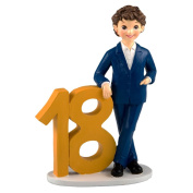 mopec Figure Cake Boy with American, Polyresin, Yellow, 6.5 x 18 x 24.5 cm