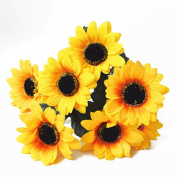 ALCYONEUS 1 Bouquet 7 Heads Faux Silk Flowers Artificial Sunflower Home Wedding Decor