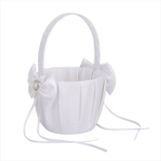 Jooks Wedding Flower Girl Basket Satin Bowknot Flower Basket Double Heart Faux Pearl Rhinestone Decor 12.5cm White