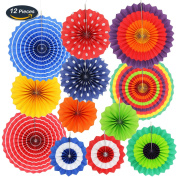 KUNGYO Paper Flower Fans ,Birthday Carnival Kids Party Supplies Favours Decorations Set of 12