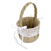 Rustic Burlap Wedding Flower Girl Basket White Lace Bow