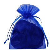 Jooks Organza Wedding Gift Bags Jewellery Pouch Drawstring Bags Candy Pockets(Blue)100 Pcs