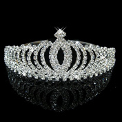 Veewon Bridal Shining Crystal Rhinestones Crown Headband Tiara Hair Band Bridesmaid Wedding Party Decoration