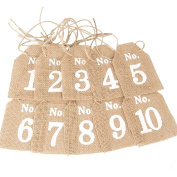 Hessian Table Numbers 1-10 Tags Vintage Rustic Wedding Shabby Chic