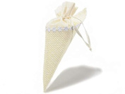 Cone Rack Rice Paper and Confetti or as Party Favours with Fabric Cream in Bag Pack of 24 Wedding Ceremony Christening Wedding