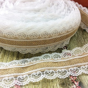 Gespout White Lace Ribbon Hessian Jute Ribbon Craft DIY Lace Canvas for Wedding, Party, Holiday, Ceremony Decoration