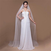 FUNAN Wedding Veil One-tier Cathedral Veils Cut Edge 118.11 in (300cm) Tulle , ivory