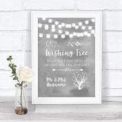 Grey Watercolour Lights Wishing Tree Personalised Wedding Sign Print