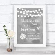 Grey Watercolour Lights Jenga Guest Book Personalised Wedding Sign Print