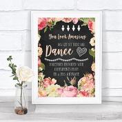 Chalkboard Style Pink Roses Toiletries Comfort Basket Personalised Wedding Sign Print