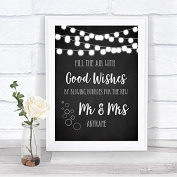 Chalk Style Black & White Lights Blow Bubbles Personalised Wedding Sign Print
