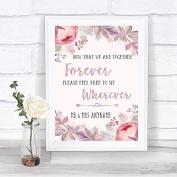Blush Rose Gold & Lilac Informal No Seating Plan Personalised Wedding Sign Print