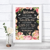 Chalkboard Style Pink Roses Welcome Order Of The Day Personalised Wedding Sign Print