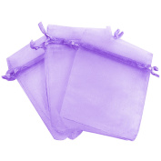 100 PCS Reusable Elegant Organza Drawstring Candy Favour Bags Pouches for Wedding Party Festival Gift Jewellery Daily Cosmetic 10cm x 15cm Purple