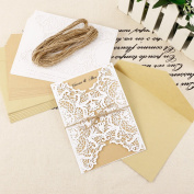 Unit of 10 Wedding Invitation Cards in White Lace Floral Cover Kraft Envelopes