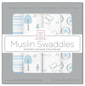 SwaddleDesigns X-Large Cotton Muslin Swaddle Blankets, Blue Forest, Set of 4