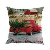 Christmas Vintage Car Printed Cushion Cover, BURFLY Square Cotton Linen Throw Pillow Case, Sofa Home Waist Pillow Cover