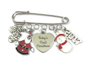 Baby's First Christmas Nappy Safety Pin Keepsake Charms with 2017, Snowman, Santa and Gloves Charms comes in an Organza Gift Bag Handmade by Libby's Market Place