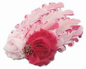 Viskey Lovely Cotton Girls Baby Headbands,Feather,pink