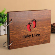 Zengest DIY Baby Photo Album Wood Cover Photo Book for Toddlers Saving the Photos of Growth, with Funny Description