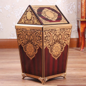Sunny Dream Household Garbage, Creative Cover Bedroom Retro Wooden Trash Can Shake The Garbage In The Living Room, 2 Cover