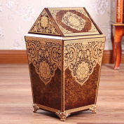 Sunny Dream Household Garbage, Creative Cover Bedroom Retro Wooden Trash Can Shake The Garbage In The Living Room, 1 Cover