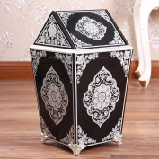 Sunny Dream Household Garbage, Creative Cover Bedroom Retro Wooden Trash Can Shake The Garbage In The Living Room,10 Cover