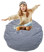 Extra Large Storage Bean Bag | Stuffed Toy Storage | Bean Bag Chair | Stuffed Storage Bag | Plush Toy Organiser | Perfect Storage Solutions | Creative Solution for Kids Navy and White Pinstripe 80cm