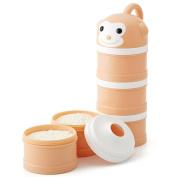 Milk Powder Dispenser Formula No Mix & Spill Twist-Lock Stackable Snack Container Orange Monkey