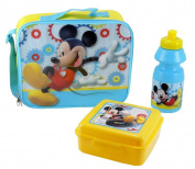 Mickey Mouse Yellow Children's School Full Pack Lunch Bag - Snack Container, Sport Bottle