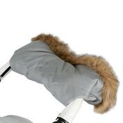 My Babiie Quilted Fur Trimmed Universal Pushchair/Stroller Handmuff - Grey