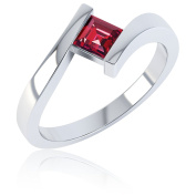 Ruby Square Stackable Silver Crossover Ring