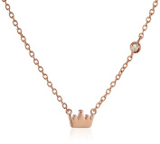 "Shy By Sydney Evan Sterling Silver Rose Gold Plated ""Crown"" Necklace with Diamond Bezel of 41.275cm"