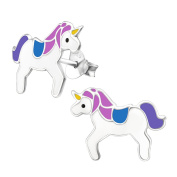 Laimons Kids Childrens' Earrings Childrens' Jewellery unicorn pink, purple, blue 925 Sterling silver