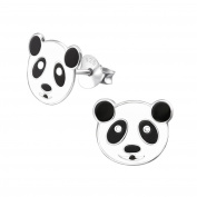 Laimons Kids Childrens' Earrings Childrens' Jewellery panda bear black, white 925 Sterling silver