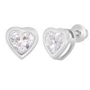 Rhodium Plated Crystal Heart Safety Screw Back Earrings Toddlers Girls