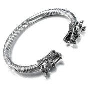 KM Mens Dragon Stainless Steel Twisted Cable Adjustable Bangle Cuff Bracelet - 20cm Wrist Fit, Silver Colour Polished