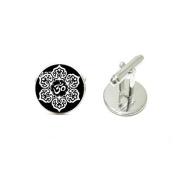 Lotus Flower Cufflinks Buddhist Holy Cuff link Silver Black Round Cufflinks
