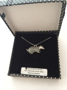 A8 Badger PENDENT REAL 925 sterling silver Necklace Handmade 46cm chain with prideindetails gift box