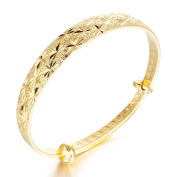 Fate Love Jewellery Beautiful Bride 18K Gold Plated Engraved Bangle for Lady, Adjustable Length