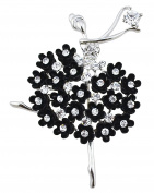 FENGJI Ballet Angel Girl Cubic Rhinestone Decoration Brooch Pin for Sweater Coat