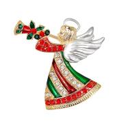 Pu Ran Shiny Rhinestone Enamel Christmas Party Brooch Pin Family Xmas Gift